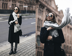 Bea G - Coat, Scarf, Jeans, Shoes, Glasses, Watch - Wrapped in Grey
