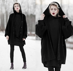 Ebba Zingmark - 5preview Coat, For Good Luck Dress, Monki Pants, Georgia Rose Boots - All black today