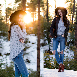 Shelly Stuckman - Yoyo Melody Blouse, Blue Faith Denim Jeans, Guess Boots, Kersh Sweater - January Favorites