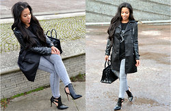 Chiara Culture With Coco - Michael Kors Croc Embossed Trench Coat, Valentino Black Leather Pointed Toe Ankle Booties, Dkny Grey Skinny Jeans, H&M Pug Sweater, Givenchy Antigona Medium Black Leather Tote - Alligator Inspired Jacket