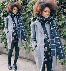 Alicia Nicholls - Asos Textured Slim Coat With Seam Detail, H&M Floral Cami Dress, Zara Patent Platform Shoes, Primark Grid Print Scarf - Flirty Winter