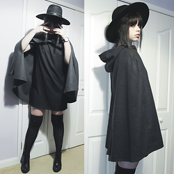 Lidia Zuin - Shein Grey Cape, Socksdream Black Over The Knee Socks, Dresslink Black T Shirt Dress, Asos Wider Brim Black Fedora Hat, Zara Black Ankle Boots, Dresslink Black Wrist Watch - Stay awake