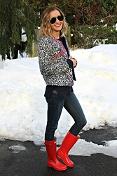 Michelle Orsi - Ray Ban Sunglasses, Dresslink Jacket, Piperlime Sweater, Zara Jeans, Hunter Boots - Embroidered Jacket