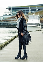 Maria P - Polette Sunglasses, Part Two Grey Scarf, Aliexpress Black Boucle Coat With Quilted Leather Sleeves, H&M Fringe Bag, Aliexpress Leather Leggings, H&M Chunky Platform Ankle Boots - Black Leather & Grey