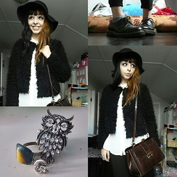 Molly Girard - H&M Furry Jacket, Thrifted Leather Witchdoctor Bag, George Sheer White Button Up, Payless Owl Ring, Thrifted Stone Ring, Thrifted Star And Moon Ring, Jessica Black Felt Hat, Dr. Martens Black Dress Shoes - Winterly Witch