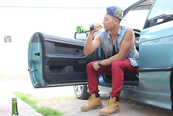 Gary Agunos - Hundreds Snapback, Michael Kors Gold Watch, American Eagle Outfitters Red Jeans, Timberland Boots - Prohibited.