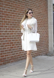 Vanessa Berlin - Anthropologie Lace Dress, Guess Faux Fur Vest, Kate Spade Bag, Vince Camuto Shoes, Armani Exchange Sunglasses - White on White