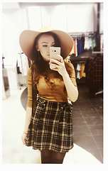 Marie M. - New Look Hat, F&F Skirt, Knee Socks -  Caramel and gold