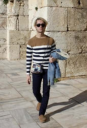 Gio' Mori - Persol Sunglasses, Lacoste Sweater, Levi's® Denim Jacket, Furla Metropolis Bag, Acne Studios Trousers, Ugg Loafers - From Athens with love