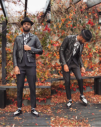 Martell Campbell - Paul Smith Trilby, Paul Smith Print Shirt, The Kooples Leather Biker Jacket, Underground Leopard Print Creepers, D'lyle Treasure Socks - Surrounded By Autumn Leaves