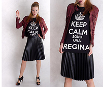 Foxy Green - Outfit4you Leather Jacket, Outfit4you Skirt, Outfit4you Tee, Fendi Shoes - Keep Calm