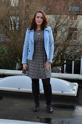Sarah M - Promod Jacket, H&M Dress, Bullboxer Boots - Baby Blue & Houndstooth