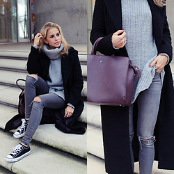 Caro Daur - Converse Shoes, Review Pants, Review Sweater, Aigner Bag, Asos Coat - Fifty shades of grey