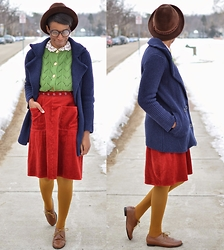 Sushanna M. - Thrifted Vintage Men's Brown Trilby, Navy Blue Double Breasted Coatigan, Thrifted Vintage Lime Green Cardigan, Thrifted Vintage Rust Orange Corduory Skirt, Thrifted Dark Yellow Tights, Thrifted Brown Wingtip Oxfords - Stained Glass