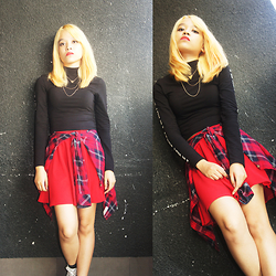 Alixandrea O. - H&M I'm Not Sorry Turtleneck Top, H&M Multiple Necklace, H&M Red Plaids, Red Skater Skirt - Think Twice