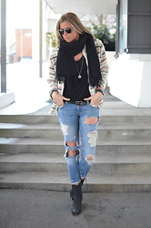 Christina Makholm - Becksøndergård Black Scarf, Sixtyseven Black Boots, Gina Tricot Ripped Jeans, Gina Tricot Black T Shirt, Iro Jacket, Christian Dior Sunnies, Ole Lyngaard Leather Braclet, Kyboe Black/Silver Watch, Festosdisken Necklace - Ripped jeans vs colors