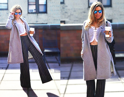 Katie Miller - Alice & Uo Tie Front Top, Kimichi Blue High Rise Flare Pant, Nasty Gal Jersey Coat, Ray Ban Sunglasses - Pin-Stripe Pixie