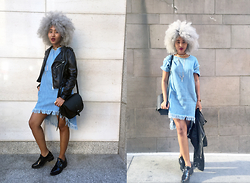 Kiani Iman - Zara Oxford Flats, Zara Oversized Dress, Who What Wear Minimal Moto - 2.5.16