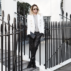 Iam Chouquette - Balmain Jacket, Karen Millen Leather Joggers, Karen Millen Leather Gloves, Zara Grey Knitted Top, Chanel Sneakers, Saint Laurent Bag, Finest Seven Gold Aviators, Hermès Hermes Cdc Cuff - Leather Lust