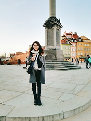 Grace J - Michael Kors Coat, Billi Bi Boots, Vero Moda Jeans, H&M Leather Jacket - Warsaw Old Town