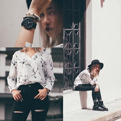 Sebelle Sharmine - Takemetoinfinity Denise Pale Florals Top, Takemetoinfinity Black Slit High Waist Jeans, Rubi Black Floppy Fedora, Christian Paul Black Marbled Classic Watch, Ultra.Chrome Bracelets, Solestruck Chelsea Boots - Impaled Florals & Beaded Wrists