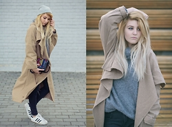 Gabriela Kugla - Choies Coat, Choies Pants, Zaful Bag, Adidas Shoes, H&M Sweater - Long Coat