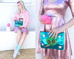 Kate Hannah - Hurricane Manor Evil Annabelle Candle, Hurricane Manor 'The Thing' Clutch, Faux Fur Jacket (Thrifted), Reebok Classic (Metallic Silver), American Apparel Shiny Velvet Keyhole Dress - ~KATE HANNAH x HURRICANE MANOR Instagram Giveaway!!~