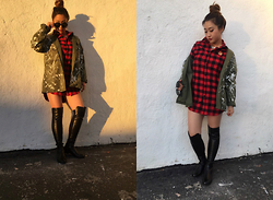 The Hala Way - Urban Outfitters Renewal Army Green Parka Jacket, Stuart Weitzman 50/50 Otk Boots, Dnine Reserve Red Plaid Tartan Flannel Shirt Dress, Always Me Retro Round Frame Sunglasses - Not your Fuccboi Boyfriend Clothes