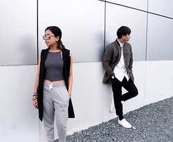 Gela Muñoz - Forever 21 Cotton Crop Top, H&M Joggers, Copper Sleeveless Coat, Forever 21 Long Varsity Jacket, Ben Sherman White Button Down, Forever 21 Drawstring Slacks, Zara White Trainers - When Opposites Attract