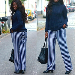 Odette Akoache - Vero Moda Cable Knit Jumper, Asos Striped Trousers, London Rebel Ankle Boots - Earn Your Stripes