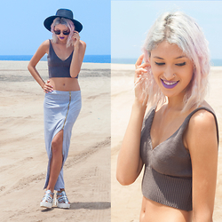 Andrea Chavez - Dumma Crochet Top, Dumma Grey Skirt, Tienda Wicked Hologrphic Sandals - GREY SUMMER FEAT. DUMMA