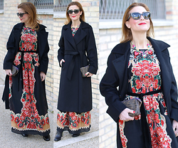 Vale ♥ - Max Mara Manuela Coat, Red Valentino Floral Dress - The perfect black coat