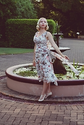 Harlow Darling - Iconic By Unique Vintage Dress, Wittner Shoes - Twilight by the Fountain