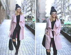 Mónica Sors - Shein Coat - ALL BLACK EVERYTHING + PINK COAT