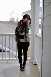 Huntress W. - Gap Anorak, Target Plaid Scarf, Sweater, Target Combat Boots - Rainy Day Maternity
