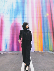 Eunice Kim - Kaii Kate Silk Jumpsuit, Shoemint Pointy Toe Booties, Gslovesme Black Knit Turtleneck Crop Top - Color Theory