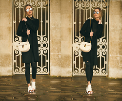 Paulina Grabowska - Zara Black Coat, Zara Black Jeans, Chloé Leather Bag, Adidas Superstar Metal Toe, Christian Dior Mirror Sunglasses - ADIDAS SUPERSTAR + CHLOE BAG