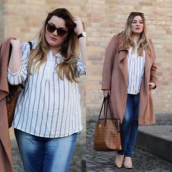 Theodora Flipper - Zizzi Shirt, Ms Mode Coat, Mcm Bag, Daniel Wellington Watch - Casual Plus Size Look
