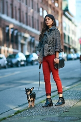 Maria P - Zara Cropped Herringbone Jacket, Springfield Red Skinny Jeans, Mango Black & Gold Studded Mini Bag, Topshop Patent Leather Ankle Boots - Pop Of Red