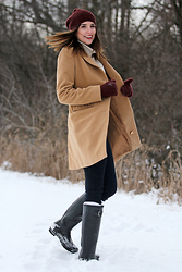 Alexis Kelly - American Eagle Outfitters Sweater, Michael Kors Coat, Artizia Beanie, Hunter Boots - Snowy days