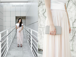 Mariel Cornel - Zara Cropped Off The Shoulder Top, Urban Outfitters Pleated Maxi Skirt - Article