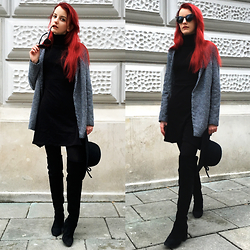 Zuzanna Zacharjasz - Coat, Zara Boots, Tk Maxx Hat - Red Hair