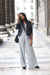 Stephanie C - Zara Jumpsuit, Leather Jacket, Mango Boots - Minimal jumpsuit