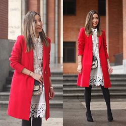 Besugarandspice FV - Zara Coat, Uterqüe Bag, Sheinside Dress - Red Coat With White Lace Dress