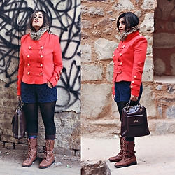 Surbhi Suri - Stalkbuylove Military Jacket, Lace Shorts, New Look Combat Boots, Lavie Bagpack, Zara Fur Collar - March Jacket