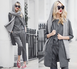 Ebba Zingmark - S.Oliver Premium Vest, S.Oliver Premium Top, S.Oliver Premium Pants, Adidas Sneakers, Gentle Monster Sunglasses, & Other Stories Scarf - London FW last year