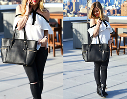 Katie Miller - Zara Cold Shoulder Top, Zara Ripped Jeans, Diophy Handbags Black Tote Bag, Jeffrey Campbell Shoes Lace Up Booties - Black Tie Affair