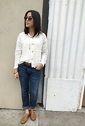 Tiffany - Current/Elliott Boxy Cropped Shirt, Current/Elliott Boyfriend Jeans, Dune London Oxfords - Comfortable in your Clothes