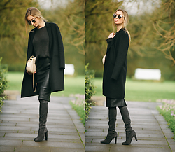 Paulina Grabowska - Topshop Sweater, Zara Leather Skirt, Stuart Weitzman Over The Knee Boots, Zara Wool Coat, Chloé Leather Bag, Christian Dior Sunglasses - LEAHTER SKIRT + CHLOE BAG