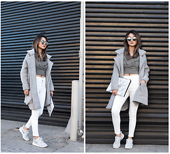Atsuna Matsui - Snupped Axis Laptop Sleeve, Minkpink Twist Again Twist Front Top, Brandy Melville Usa Kennedy Coat, Topshop Moto White Jamie Jeans - Grey Scale
